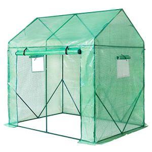 Yorbay Serre de Jardin Tente pour Plantes Tomates Fleurs Bâche renforcée en PE 140 g/m² – 200 x 140 x 200cm (LxBxH), Solide, Verte Réutilisable