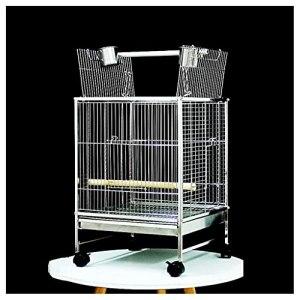 zlw-shop Cage à Oiseaux Cage en Acier Inoxydable Cage carrée Starling Starling Phoenix en Direct Perroquet Cage avec Stand Cage ornemental pour perruches Love Oiseaux Cockatoos Finches Nichoirs