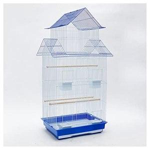 zlw-shop Cage à Oiseaux PERAGEET Oiseau Cage Grande Cage d'oiseau en Acier Inoxydable Starling Peint en Fer forgé en Fer forgé Convient au Pigeon des Oiseaux d'amour canarie Nichoirs (Color : Blue)