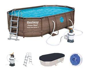 Bestway 56946 Piscine Power Steel™ Swim Vista ovale 488 x 305 x 107 cm motif rotin avec hublots, filtration à sable, échelle, bâche et diffuseur Chemconnect™
