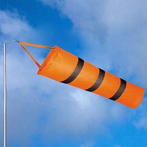 EMAGEREN Manche à Air Aéroport en Tissu Oxford Orange avec Bande Réfléchissante Argent Manche à Vent avec Clip Direction Vent Longueur 81cm Anti-UV pour Météorologie Chimie Agriculture Extérieur