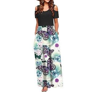 Fulltime® Robe d'été pour Femmes/épaule Froide imprimée Florale élégante Maxi Robe de Poche à Robe Longue (Blanc,S)