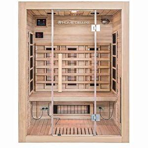 Home Deluxe Cabine Infrarouge Sahara L – Radiateur à spectre complet en bois : sapin, dimensions : 150 x 120 x 190 cm | sauna infrarouge pour 2-3 personnes, sauna, infrarouge, cabine
