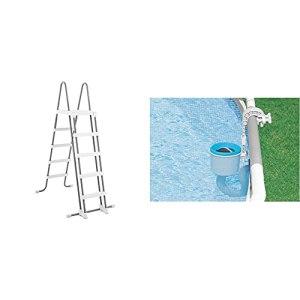 INTEX Echelle Double Sécurité Marches Amovibles 1,32cm & Skimmer de Surface Deluxe pour Piscine
