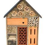 MAZUR International Hôtel à insectes et abeilles en bois, nichoir, abri pour papillons, jardin de 58,4 cm de haut