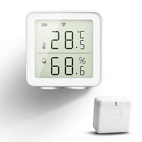NOTSEK HOLIHOKY Thermomètre Hygromètre Intérieur Numérique WiFi Compatible avec Alexa Smart Life Capteur d'Humidité sans Fil Smart Humidity Guage Thermometre WiFi Piscine Maison Cave a Vin Cigar…