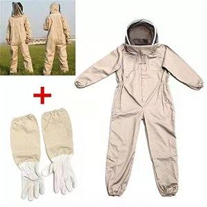 Nouveau Costume d'apiculture de Corps Complet et ventilé ventilé avec des Gants en Cuir Couleur Vert pour l'arrière-Cour et l'abeille (Color : White, Size : XL)