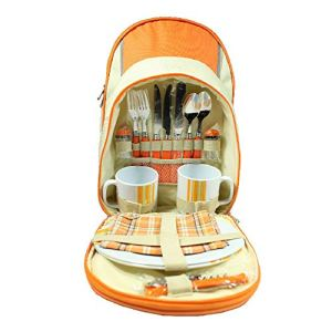 Sacs de pique-nique Deluxe Set pique-nique Hamper Sac à dos / Rucksack Cool Bag Comprend couverts, assiettes, serviettes, verres à vin, décapsuleur 2 personne pour le voyage Camping barbecue Activités