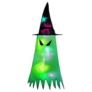 shorecofei SweetWU – Manche à air fantôme avec chapeau LED à suspendre – Drapeau effrayant pour intérieur ou extérieur – Yeux de démon, verts