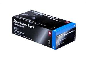 Style Latex Noir Gants d'examen en latex 14–028, non poudrés, noir, polymerbeschichtet, non stériles, 240mm de long