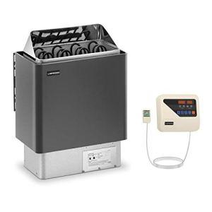 Uniprodo Kit Poêle Pour Sauna 6kw Chauffage Électrique À Sauna Et Unité Tableau Boitier Système De Commande UNI_SAUNA_G6.0KW-SET (Cabines de 5-9 m³, 30-110 °C, Commande Externe, LED)