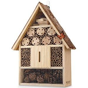 WILDLIFE FRIEND I Hôtel à Insecte en Bois avec Toit en Écorce – Maison Insectes, Hotel a Insectes pour Abeilles, Coccinelles, Papillons et Autres Insectes, 40cm