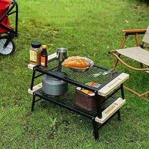 XIAOFEI Table en Filet Pliante extérieure, Support de Barbecue Portable en Fer forgé, adapté à la Table à Manger, au Camping, au Support de Camping pour Voiture