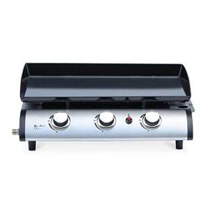 Alice's Garden Plancha au gaz 3 Feux – Porthos 3 brûleurs – 7.5 KW. Barbecue. Cuisine extérieure. Grande Plaque émaillée. INOX