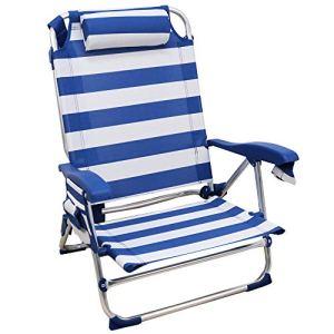 Arcoiris Chaise De Plage, Chaise Pliante pour Plage, Jardin, Camping (1 Unidad, Rayas Azul y Blanco)