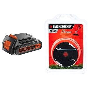 BLACK+DECKER Batterie Lithium 18V 2 Ah, Compatible avec Tous Les Outils 18V, sans Effet Mémoire & Bobine de Rechange pour Coupe-Bordures, Bobine Reflex, 10 m de Fil en Nylon Reflex, Fil de ⌀1,5 mm