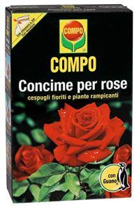 COMPO, Engrais pour rosiers avec guano, également idéal pour fleurs et arbustes grimpants 1 kg
