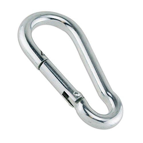 Constrabo | 5 mousquetons mesurant 100×10 mm, Norme DIN 5299 C | Crochet de carabine en acier galvanisé avec une capacité de charge de 350kg | Fermeture à ressort avec mousqueton | Crochets de ressort