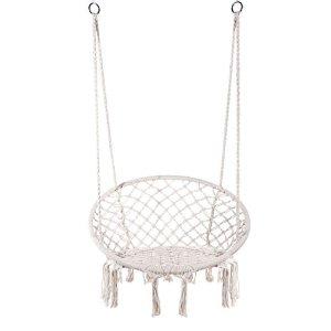 E EVERKING Hamac Balançoire en macramé à suspendre en corde de coton macramé pour intérieur, extérieur, maison, terrasse, porche, terrasse, cour, jardin, poids maximum : 117,9 kg (blanc)
