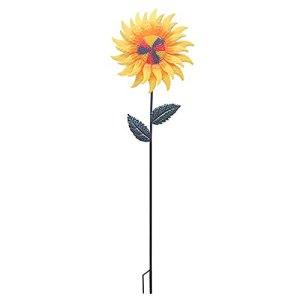 ERZU Tournesol, Piquet de Jardin Tournesol en Métal Jardin Spinner, Jardin Art Fleurs Artificielles pour Jardin, Patio, Cour, Allée, Porche Décoration