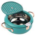 Friteuse de cuisson, avec thermomètre, poêle à frire profonde durable, poignée au toucher froid pour la cuisine à domicile