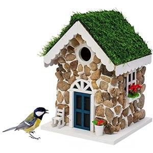 Gardigo Nichoir en Forme de Maison en Pierre | Nichoir Décoratif à Suspendre dans le Jardin, Balcon, Terrasse