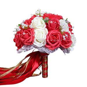 Godagoda Fleur Mariage Bouquets de Mariage Bouquet de Mariée Perles Fleurs Artificielles Décoration Accessoires Dentelle
