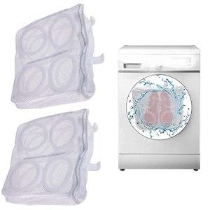 HGFG Lot de 2 sacs à linge en maille nid d'abeille pour machine à laver et sèche-linge Tissu polyester 2 couches avec fermeture éclair de sécurité