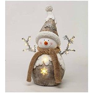 Holiday Lighted Woodland Santa/Snowman Statue Resin Ornaments, Tall Santa Snowman Statue, Christmas Gnomes Light Up Decoration (B)