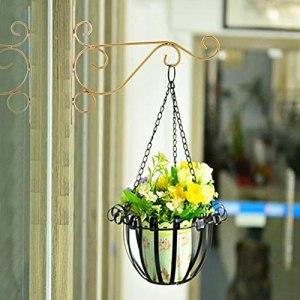HuangJUN Support pour Plantes suspendues en Fer, Support de Suspension pour jardinière Murale de 9,8 * 8,3 Pouces avec vis et Tubes d'expansion pour étagères extérieures, Utilisation de clôture (Or)