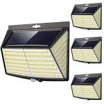 Lampe Solaire Extérieur, 228 LED [4 Pack] Eclairage Exterieur avec Détecteur de mouvement, LED Solaire Exterieur pour Jardin, Etanche Grand Angle 270° Lampe de Sécurité en Appliquée Patio Mur Cour
