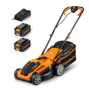 LawnMaster CLMF2434G Tondeuse à Gazon à Batterie 24 V, 4,0 Ah, 2 Batteries,1 Chargeur Rapide, 300 m² Largeur de Coupe 34 cm, 5 Niveaux de 20 – 70 mm Hauteur de Coupe.