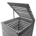 Lukadria Cache-poubelle en bois pré-imprégné gris clair avec paroi arrière Mod.HH (1 tonne) 120 l – 240 l