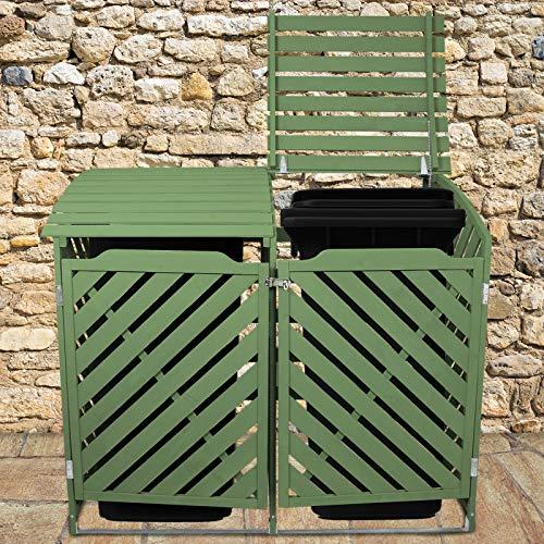 MonsterShop Cache Poubelle Vert Sauge Abri Poubelle Extérieur Bois de Sapin Rangement Verrouillable Jardin Aménagement Extérieur