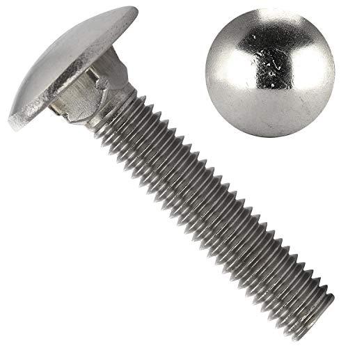 OPIOL QUALITY® Lot de 50 vis à tête bombée – DIN 603 – M8 x 25 – En acier inoxydable A2 V2A – À tête bombée – Filetage complet