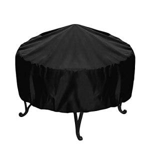 SterneMond Housse de protection pour brasero rond noir étanche UV 210D Oxford couverture pour brasero extérieur barbecue anti-poussière (diamètre 58 cm, hauteur 77 cm)