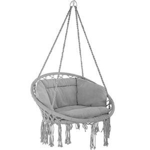TecTake 800708 Fauteuil Suspendu Relax Design de Jardin en Coton, 1 Place, Intérieur et extérieur, Coussins Confortables Inclus – Couleur au Choix – (Gris   no. 403204)