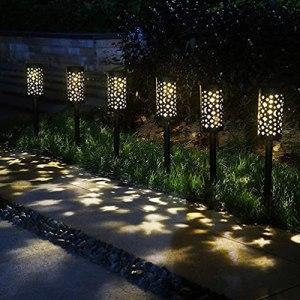 Uonlytech Lot de 2 lampes solaires Pathway – Pour jardin, patio, cour, allée – Lumière blanche chaude