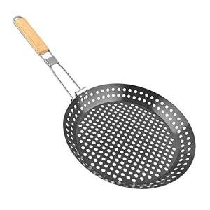 Yardwe Grill Panier pour Les Légumes Viande Grande Grill Wok Pan avec Manche en Bois Heavy Duty Veggie Griller Panier Meilleur Barbecue Accessoires pour Toutes Les Grillades Fumeurs