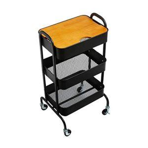 ZYY Vintage en fer forgé Support de rangement en métal 3 couches rack Panier Salon Table d'appoint avec rangement Roue d'angle (Noir, Spécification Taille: 38 * 46 * 85cm)