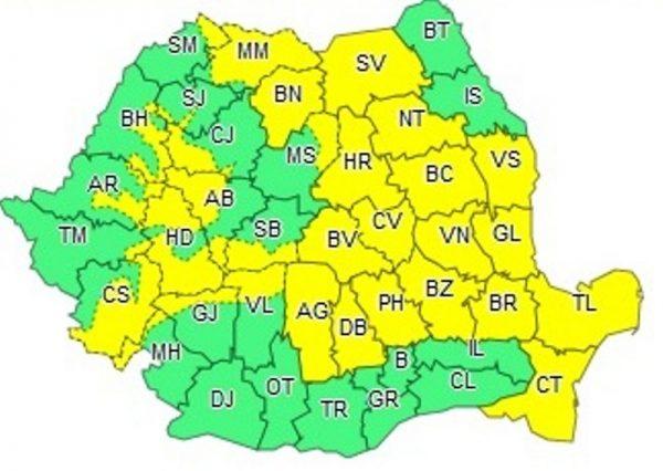 Atenționare meteo: Cod galben de PLOI TORENȚIALE în HUNEDOARA și alte județe din țară, de sâmbătă până luni