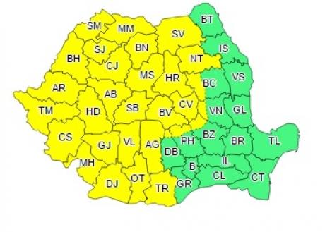 ALERTĂ meteo: Cod galben de furtuni timp de două zile/ HARTA zonelor vizate