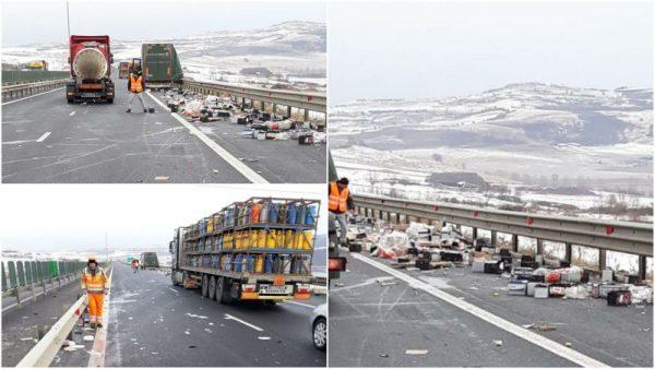 Incident pe Autostrada A1 Sibiu – Sebeș: Marfa transportată de un camion a căzut pe carosabil