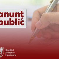 Consiliul județean Hunedoara / Anunț public pentru dezbatere publică