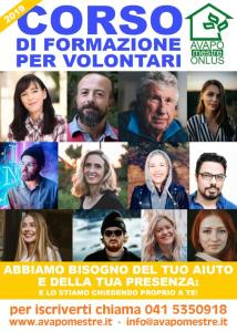 Volantino del corso volontari 2019 per Avapo Mestre