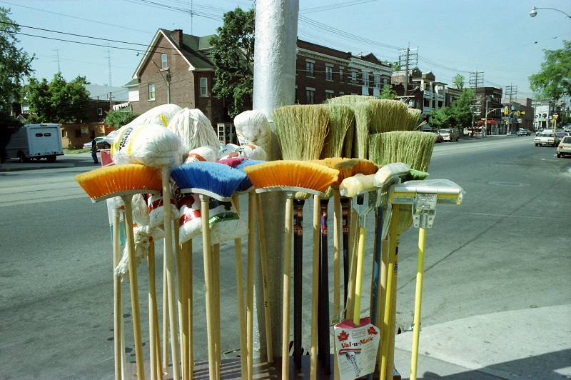 brooms, mops, Toronto, street scene, St. Clair West, everyday objects, Avard Woolaver