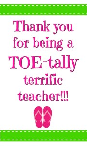 TOEtally Terrific teacher tag in green