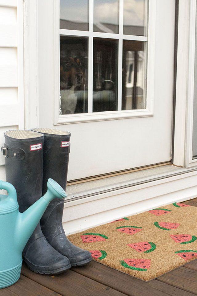 DIY Stamped Watermelon Doormat
