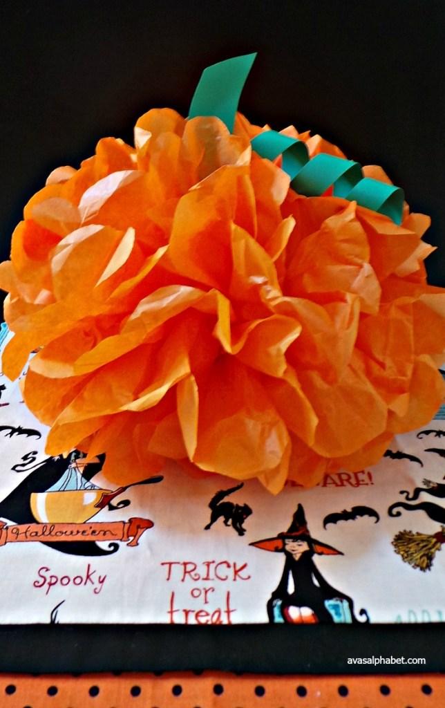 Tissue Paper Pom Pumpkins
