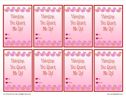 Adorable Rubber Ducky Valentine Cards
